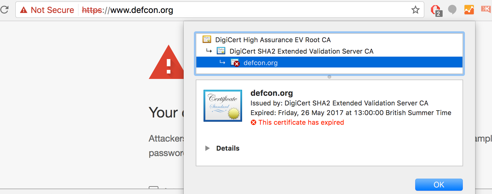 DefCon website down due to expired certificate.