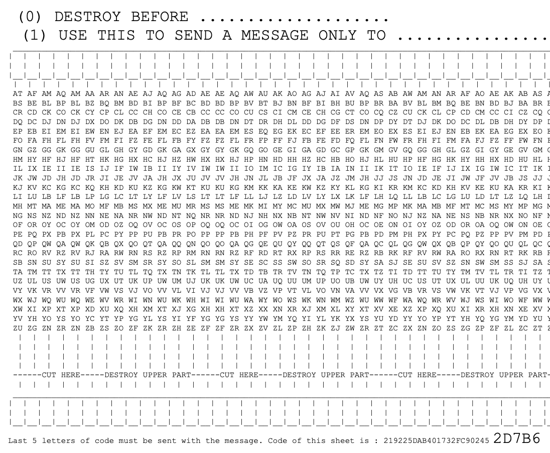 Encryption sheet for one time pad